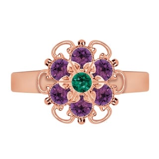 Lucia Costin Rose Goldplated Sterling Silver Green/ Violet Crystal Center Flower Ring