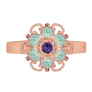 Lucia Costin Rose Goldplated Sterling Silver Mint Blue/ Violet Crystal Ring