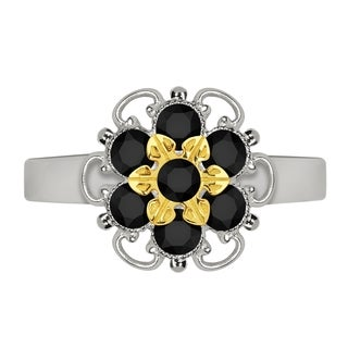 Lucia Costin Yellow Goldplated Sterling Silver Black Crystal Delicate Flower Ring