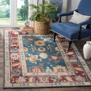 Safavieh Hand-knotted Maharaja Blue/ Red Wool Rug (5' x 8')
