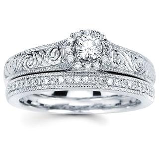 14k White Gold 1/5ct TDW Diamond Bridal Set (H-I, SI2-I1)