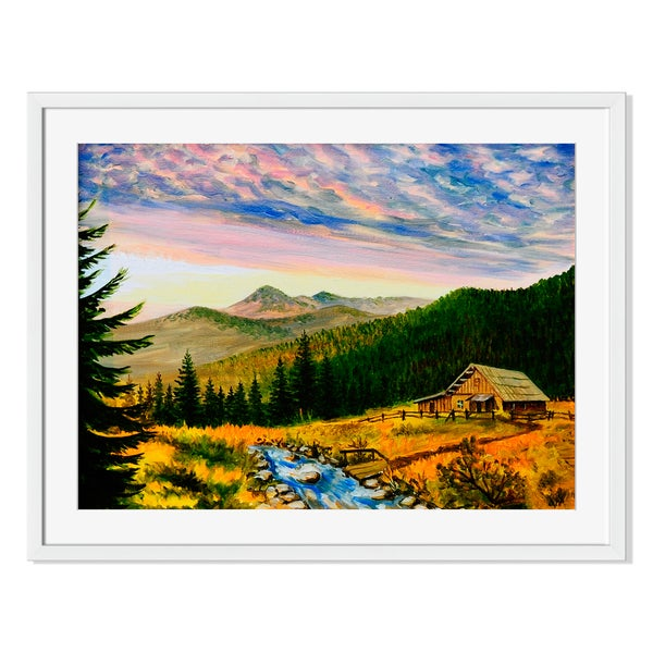 Village House in the Mountains Print on Paper Framed Print