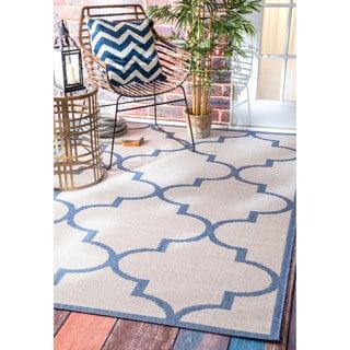 nuLOOM Bold Modern Trellis Indoor/ Outdoor Blue Rug (6'3 x 9'2)