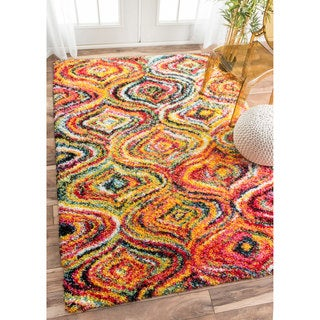 nuLOOM Soft and Plush Melting Moroccan Rainbow Trellis Shag Multi Rug (9'2 x 12')
