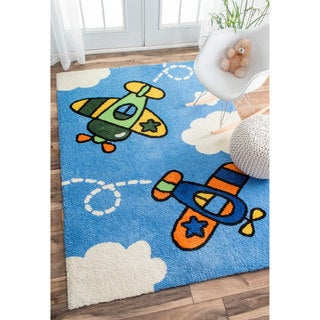 nuLOOM Plush Spiraling Planes Kids Sky Blue Rug (3'6 x 5'6)