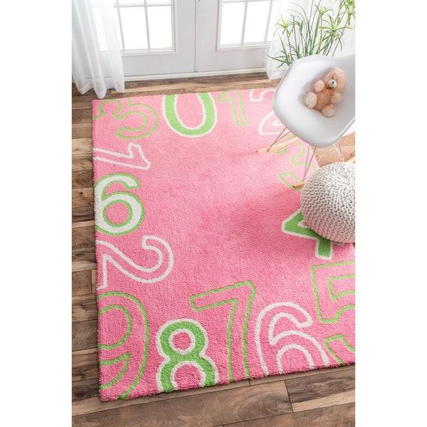nuLOOM Plush Counting Numbers Kids Pink Rug (3'6 x 5'6)
