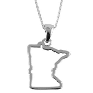 Sterling Silver Minnesota State Outline 18-inch Necklace