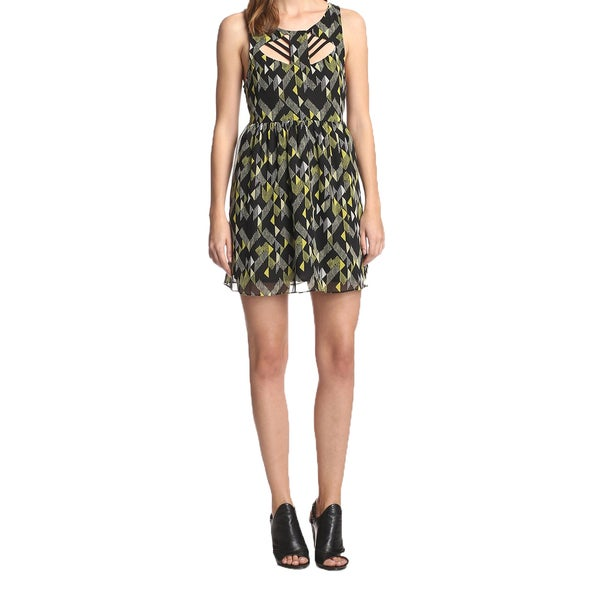 French Connection women's Geometrical Print Fit and Flare Woven Dress