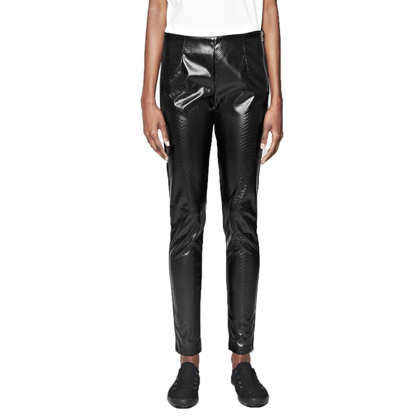 French Connection Women's Killacroc Black Faux Leather Leggings