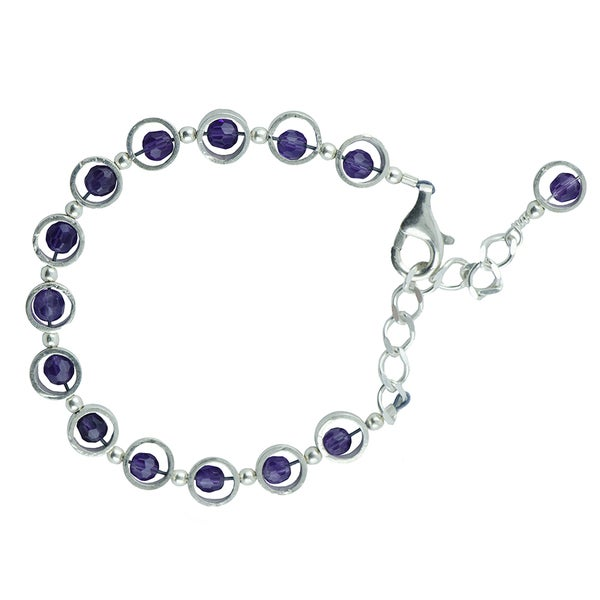 Sterling Silver Faceted Amethyst 7-inch Bracelet with Extender Chain