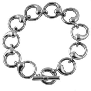 Sterling Silver Wave Link 8-inch Bracelet