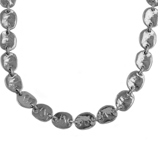 Sterling Silver Hammered Disc 22-inch Necklace