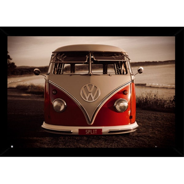 VW Red Kombi Print with Contemporary Poster Frame (36 x 24)
