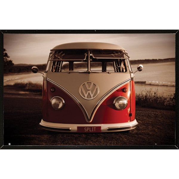 VW Red Kombi Wall Plaque (36 x 24)