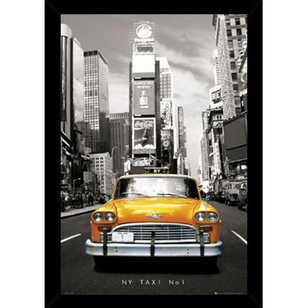 New York Taxi Print with Traditional Black Wood Frame (36 x 24)