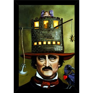 Edgar Allan Poe Print with Traditional Black Wood Frame (24 x 36)