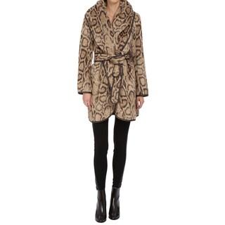 Diane Von Furstenberg Bergen Women's Brown Leopard Wrap Coat
