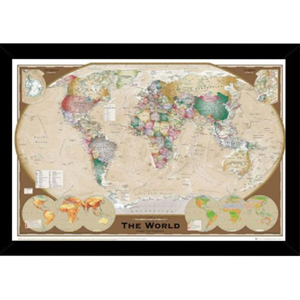 World Map Triple Print with Traditional Black Wood Frame (36 x 24)