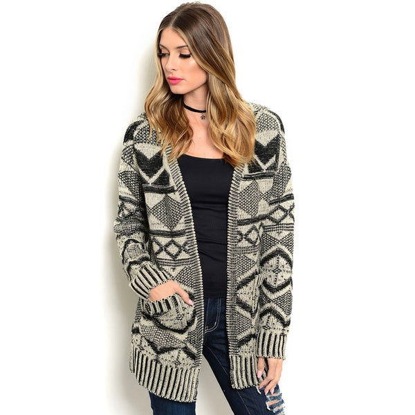 Shop the Trends Women's Long Sleeve Allover Tribal Print Open Cardigan