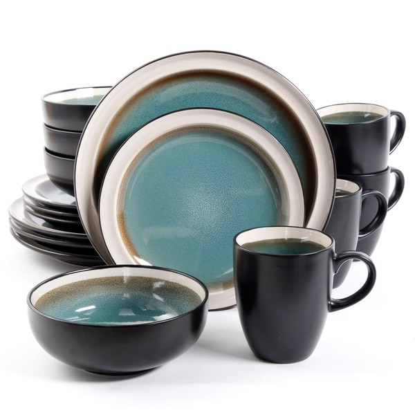 Central Ridge Blue 16-piece Dinnerware Set