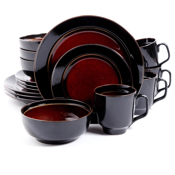 Bella Galleria Red and Black 16-piece Dinnerware Set