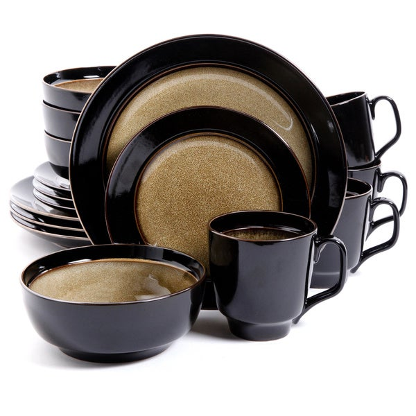 Bella Galleria Taupe Black 16-piece Dinnerware Set