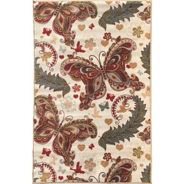 Sweet Home Cream Butterfly Design Mat Doormat Rug (3'3 x 4'7)