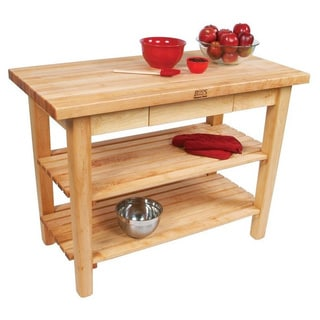 John Boos C03-D-2S Country Maple Work Table with Drawer and 2 Sheves and J A Henckels 13-piece Knife Set.