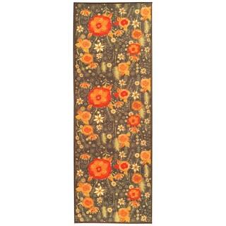 Sweet Home Brown Floral Design Mat Doormat Rug (1'8 x 4'11)