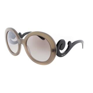 Prada Women's PR 27NS UBU4O0 Matte Brown Transparent Round Minimal-Baroque Sunglasses