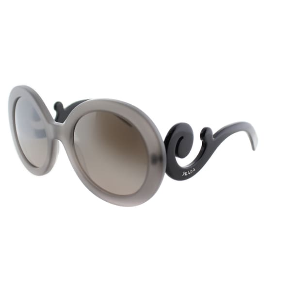Prada Womens PR 27NS UBV4P0 Matte Grey Transparent Round Minimal-Baroque Sunglasses