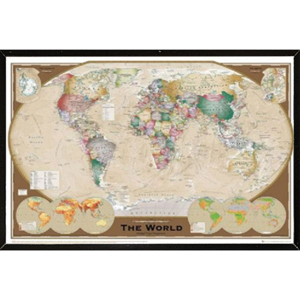 World Map Triple Wall Plaque (36 x 24)