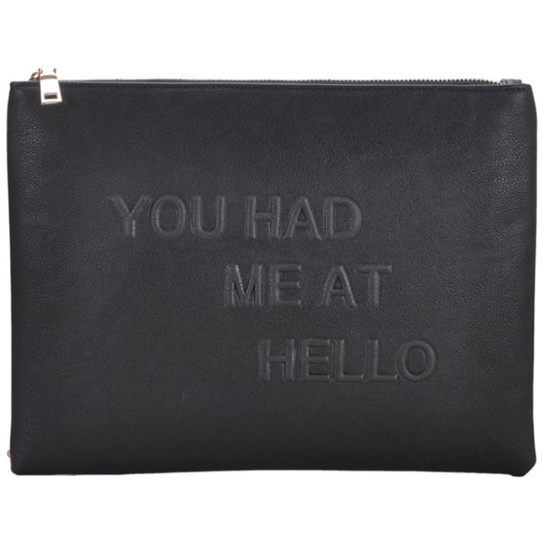 Mechaly Women's Slogan Black Vegan Leather Crossbody