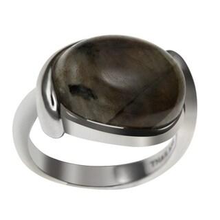 Sterling Silver Oval Labradorite Twist Ring