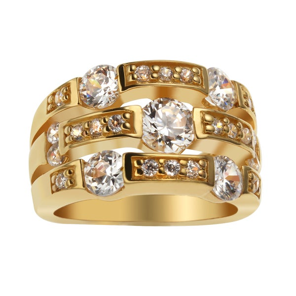 Sterling Silver 18k Gold Embraced Cubic Zirconia Stack Ring