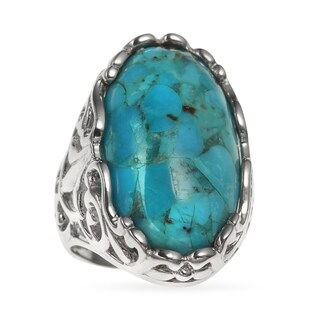 Sterling Silver Oval Turquoise Scrollwork Ring
