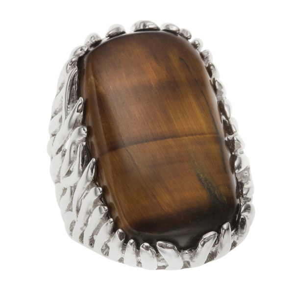 Sterling Silver Rectangle Shaped Tiger's Eye Ring