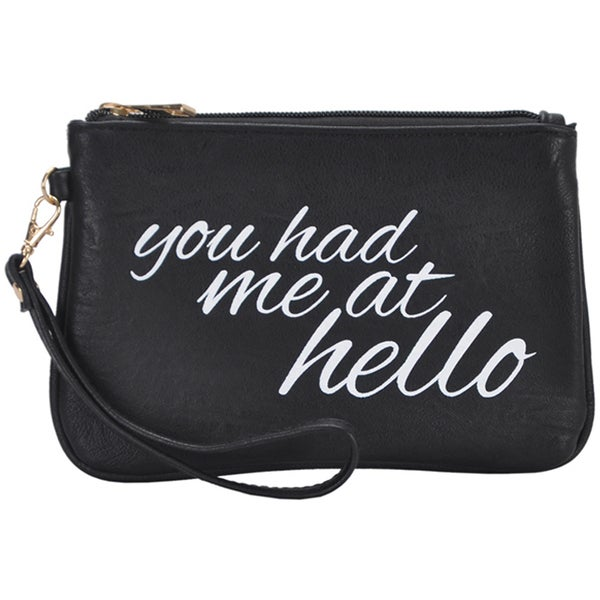 Mechaly Women's Slogan Hello Black Vegan Leather Wallet