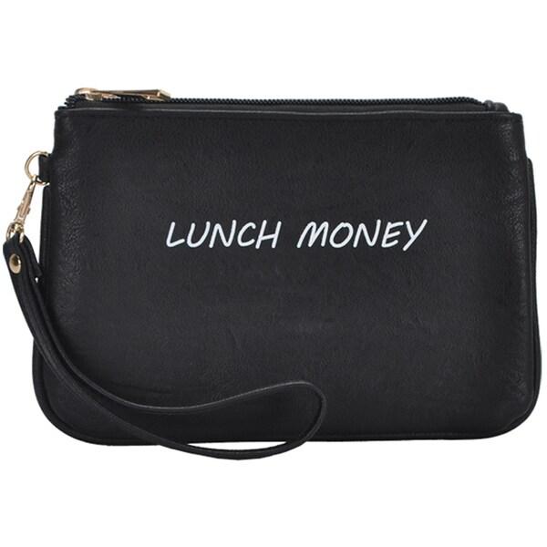 Mechaly Women's Slogan Lunch Black Vegan Leather Wallet