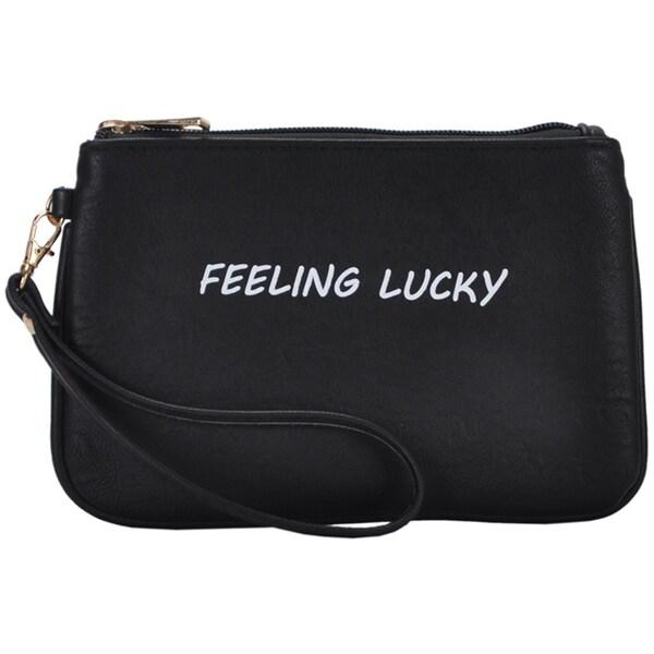 Mechaly Women's Slogan Lucky Black Vegan Leather Wallet