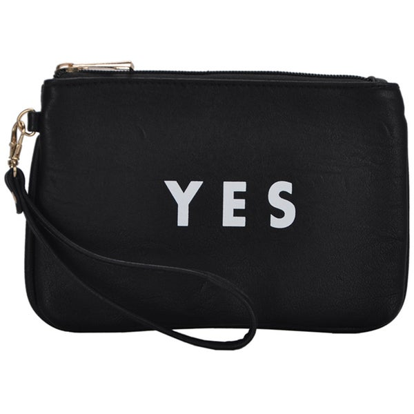 Mechaly Women's Slogan Yes Black Vegan Leather Wallet