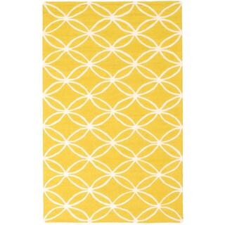 ecarpetgallery Baroque Yellow Wool Rug (5'0 x 8'0)