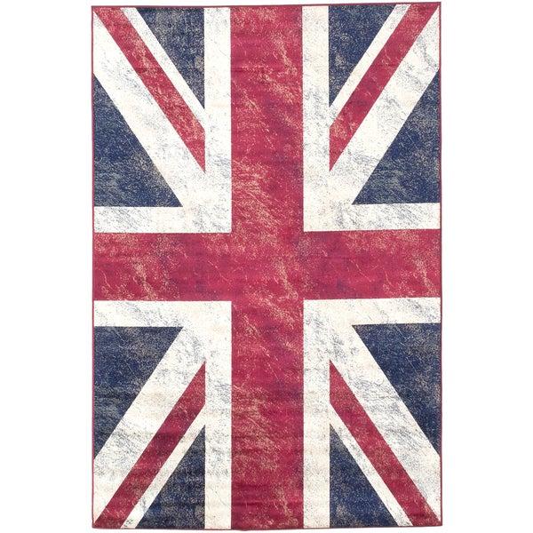 ecarpetgallery Union Jack Blue, Red Rug (4'4 x 6'6)