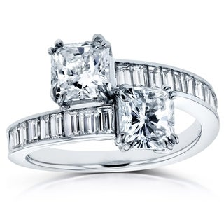 Annello Two 18k White Gold Certified 3ct TDW Radiant and Baguette Channel Diamond Bypass Ring (G-H, SI2-SI3)
