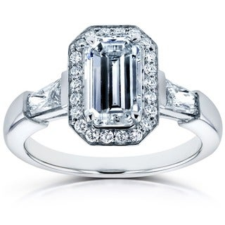 Annello 18k White Gold Certified 2 1/5ct TDW Diamond Tapillion and Emerald-cut Halo Ring (G-H, VS-SI)