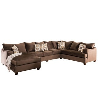Furniture of America Nisha I Modern Chocolate Premium Fabric U-Shaped Sectional