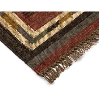 "Brick Hacienda Tribal (21""x34"") Jute / Wool Rug"