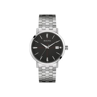 Bulova Men's 96B244 Stainless Steel Date Calendar Watch with a Black Dial