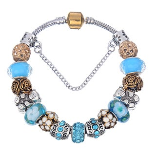 Pink Box Double Rhodium-plated Light Blue and Rose Bead European Charm Bracelet