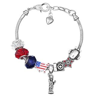 Pink Box Double Rhodium-plated America Bead European Charm Bracelet